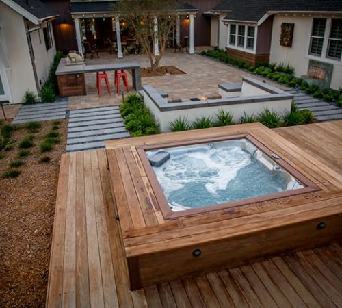 Outdoor Jacuzzi Hot Tub Installation Backyard New Jersey